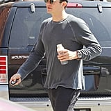 Orlando Bloom sipped on juice.