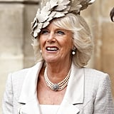 At the 2014 Commonwealth Observance service, Camilla, Duchess of Cornwall, wore this beautiful off-white accessory.
