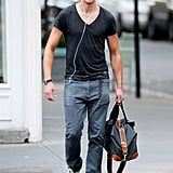 Alexander Skarsgard walks in NYC.