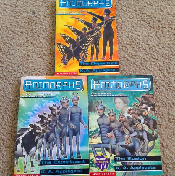 Reading the latest book in the Animorphs series until . . .