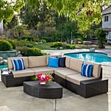 Sepulveda Dark Brown 6-Piece Wicker Outdoor Sectional Sofa Set With Cushions