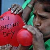 Indian women protest to denounce Valentine's Day as cultural invasion on the Hindu way of life.
