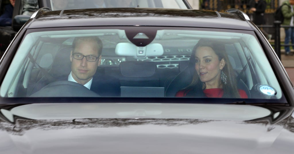 The Duke and Duchess of Cambridge drove up to the palace.