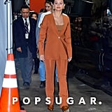 Selena Gomez's Burnt Orange Suit and Yuul Yie Croc Boots