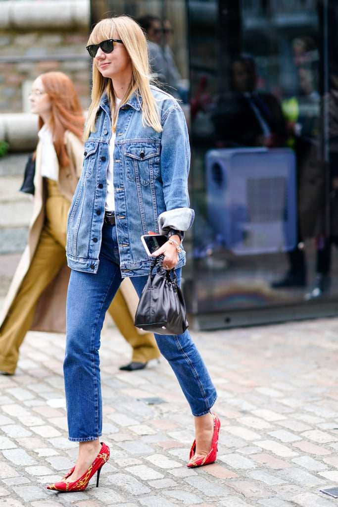 Punch up a denim jacket, jeans, and t-shirt combo with a bright pair of heels.