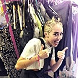 Miley Cyrus flashed her usual tongue and thumbs up sign.  Source: Instagram user mileycyrus