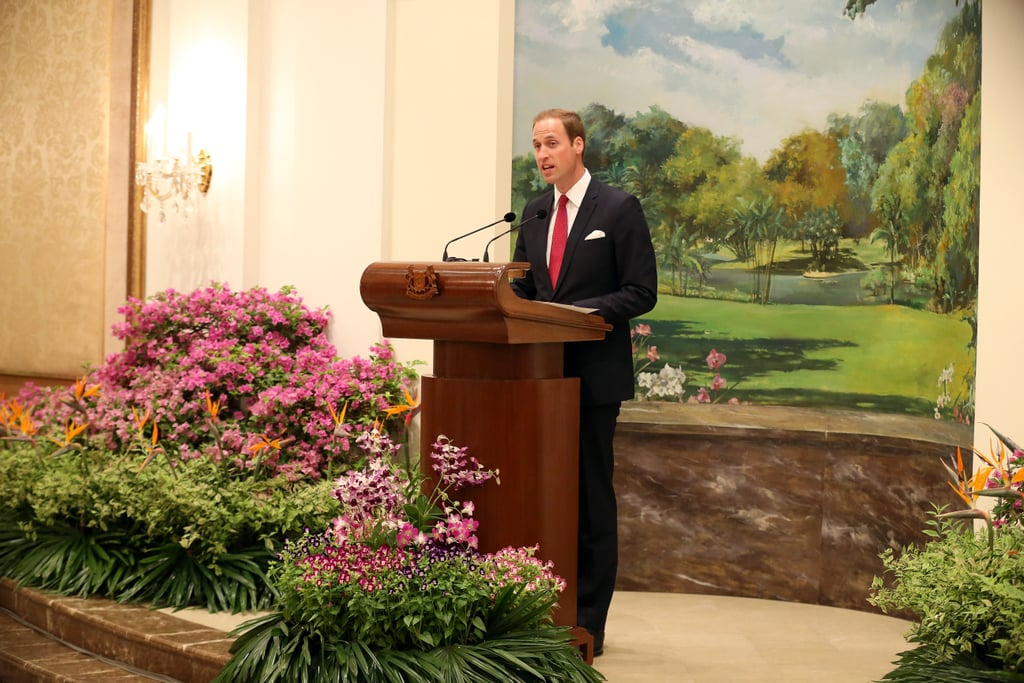 Prince William spoke at the podium.