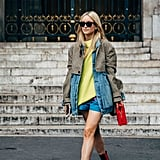 Style your shorts and denim jacket with a neon top for a pop of colour.