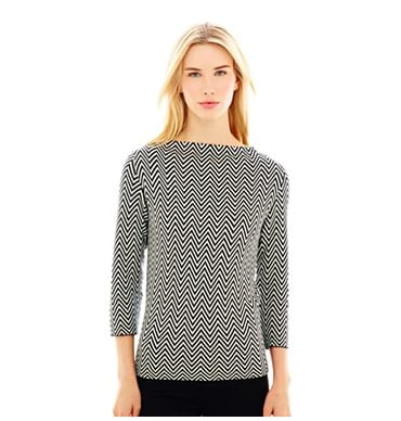 Add interest to any outfit with Joe Fresh's chevron boat-neck sweater ($29).