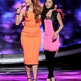 Jennifer was clearly attracted to bright hues on the show. While getting close with contestant Jessica Sanchez, she wore a tangerine Victoria Beckham dress ($2,750) with Lanvin wood platforms ($1,150). It was the perfect American Idol look, classy and sassy.