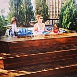 Mariah Carey enjoyed a dip in the hot tub with her kids, Moroccan and Monroe, atop their NYC home. Source: Instagram user mariahcarey