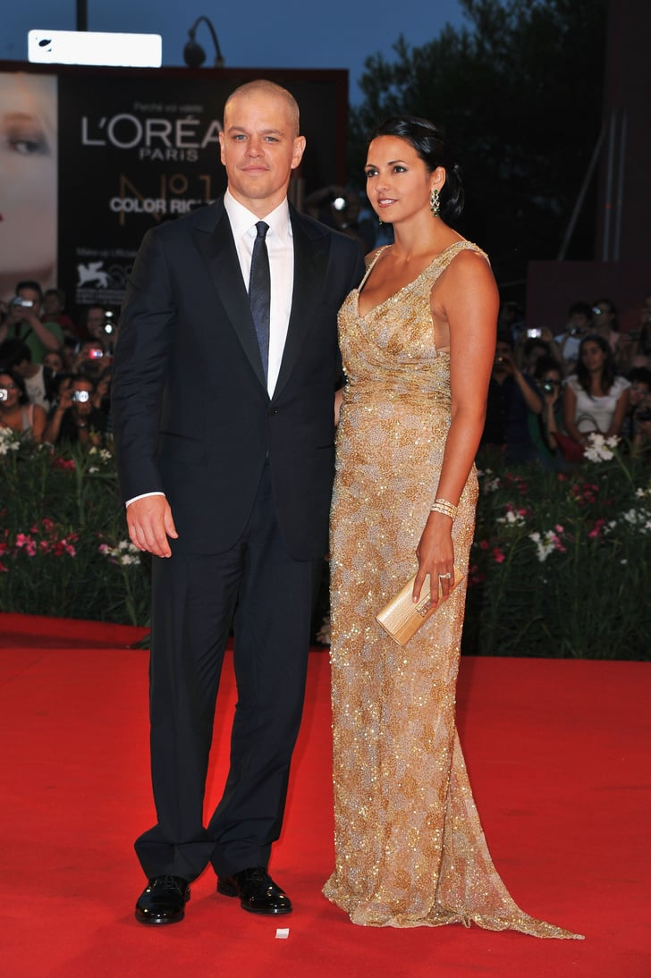 Matt and Luciana Damon on the red carpet at the Venice Film Festival.