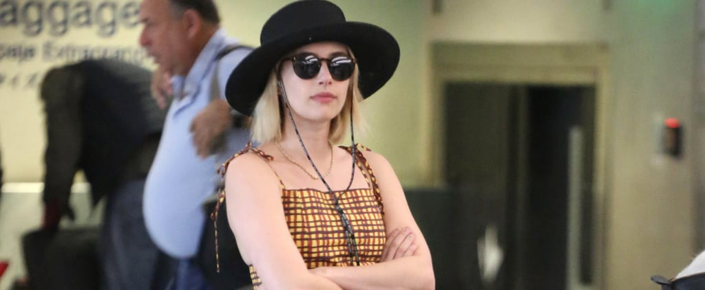 Emma Roberts Black Pearl Pumps in Airport