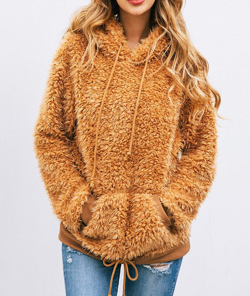 PRETTYGARDEN Drawstring Fuzzy Sweater Hoodie