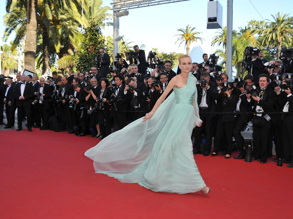 Diane Kruger's dress flowed behind her on the red carpet at the opening of the Cannes Film Festival and the premiere of Moonrise Kingdom.