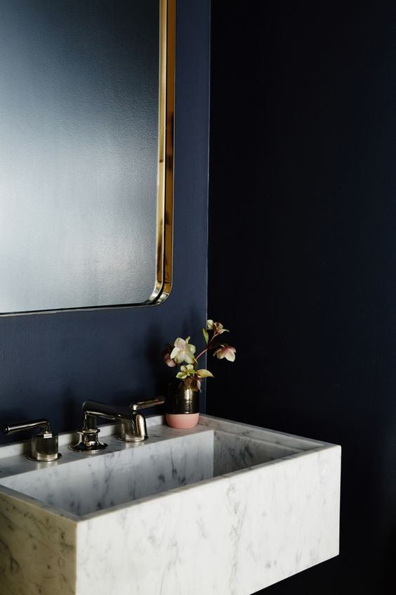 Best bathroom paint colors popsugar home for Dark blue bathroom decor