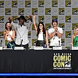 Pictured: Ricky Whittle, Lindsey Morgan, Isaiah Washington, Marie Avgeropoulos,Bob Morley, Eliza Taylor, and producer Jason Rothenberg.