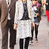 Ann Wintour made the rounds in a sophisticated play on print and texture.
