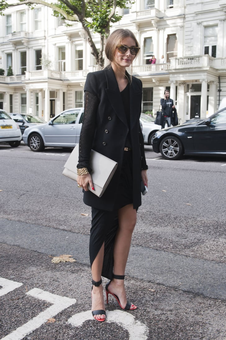olivia palermo amped up an all black look with a. Black Bedroom Furniture Sets. Home Design Ideas