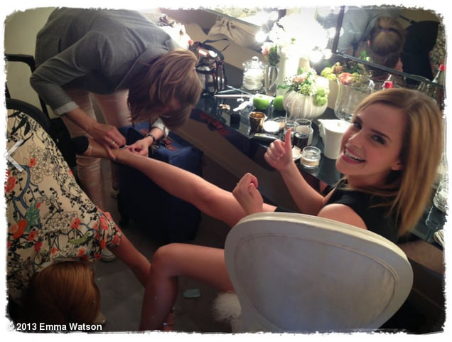 Emma Watson had trouble getting her shoes off after an appearance at the Cannes Film Festival in May.  Source: Twitter user EmWatson