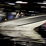 Robert Pattinson and Kristen Stewart filed into a speed boat to film a scene for 2011's Breaking Dawn Part 1.