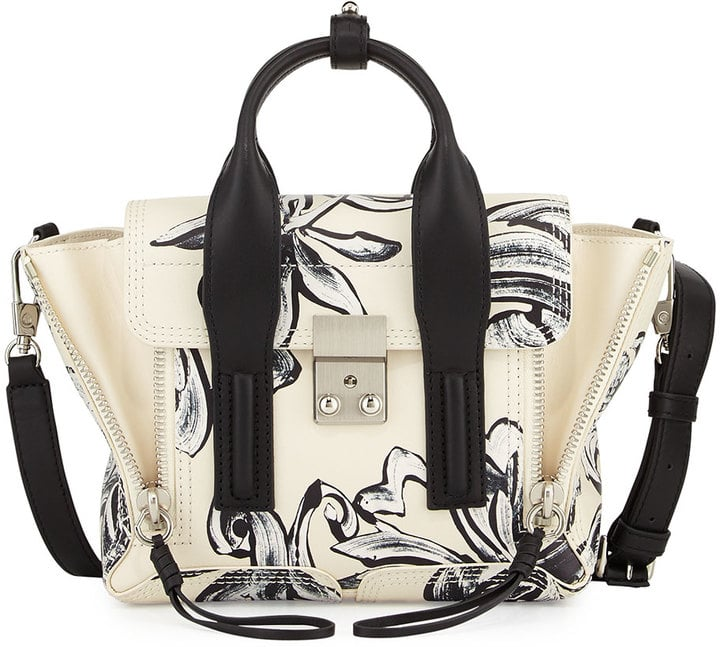 3.1 Phillip Lim Pashli Mini Floral-Print Satchel Bag, Off White/Black ($850)