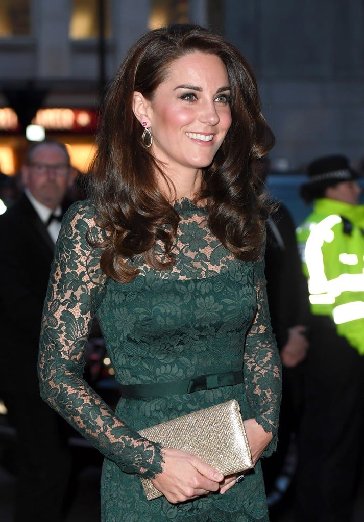 Kate Middleton looked all kinds of gorgeous when she stepped out for the annual Portrait Gala in London on Tuesday. Kate — who has been a patron of the gallery since 2012 — stunned in a deep green colored lace Temperley gown complete with a metallic clutch. The Duchess of Cambridge met with guests and viewed two exhibitions — Howard Hodgkin: Absent Friends and Gillian Wearing and Claude Cahun: Behind the Mask, Another Mask — before attending a dinner at the art gallery. Kate attended the event solo, and has been keeping busy with her philanthropic endeavors following Prince William's controversial ski trip to the Swiss Alps in early March. After celebrating St. Patrick's Day with a cold glass of Guinness during a visit to the Cavalry Barracks, she helped spread mental health awareness the day after the London terrorist attack.