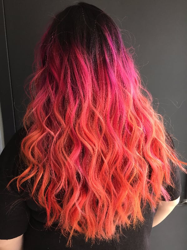 Neon Hibiscus Rainbow Hair Colour Ideas For Brunettes Autumn