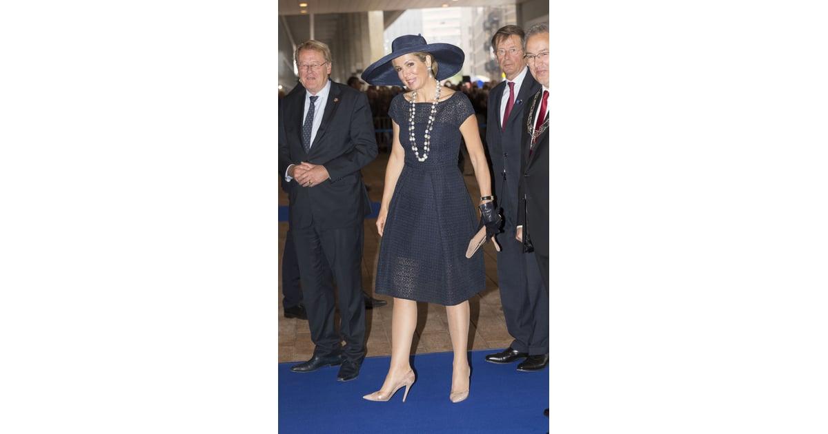 Queen Maxima S Navy Blue Eyelet Dress May 2016 Popsugar