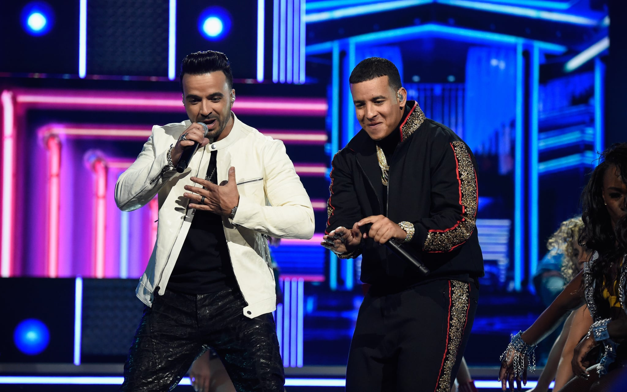 NEW YORK, NY - JANUARY 28:  Recording artists Luis Fonsi and Daddy Yankee perform onstage during the 60th Annual GRAMMY Awards at Madison Square Garden on January 28, 2018 in New York City.  (Photo by Kevin Mazur/Getty Images for NARAS)