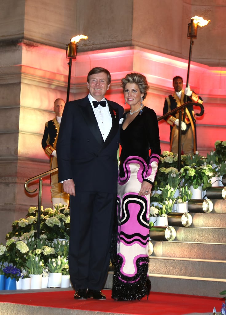 Queen Maxima Wearing Printed Gown