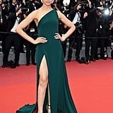 Wearing a green gown by Brandon Maxwell at the 2017 Cannes Film Festival.
