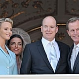 After the civil ceremony, Princess Charlene of Monaco and Prince Albert II of Monaco share the balcony with their witnesses Donatella Knecht de Massy and Chris Le Vine.