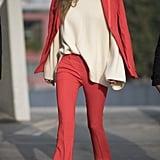 During Milan Fashion Week in Feb. 2017, Gigi debuted this red pantsuit set.