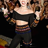 Miley Cyrus wore a bejeweled outfit to the VMAs.