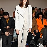 Model and style blogger Hanneli Mustaparta in cool Wintry whites at the Jeremy Laing show.