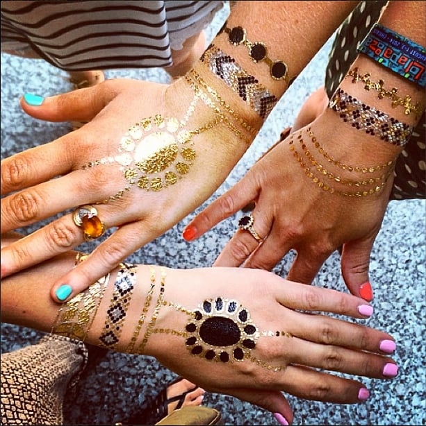 The new flower crowns? Metallic flash tattoos.  Source: Instagram user POPSUGARBeauty