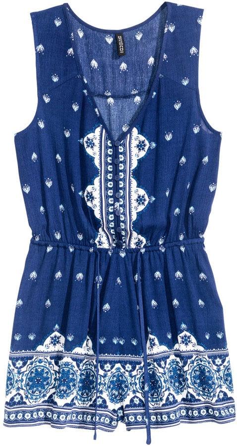 H&M Sleeveless Jumpsuit - Dark blue/white patterned ($30)