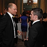 Woody Harrelson and Josh Hutcherson caught up at the White House Correspondant's Dinner.