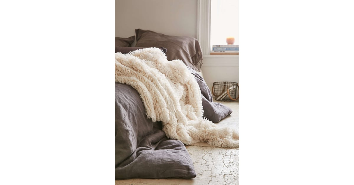 Urban Outfitters Plum Bow Faux Fur Throw Blanket Cozy Home Interesting Threshold White Faux Fur Throw Blanket