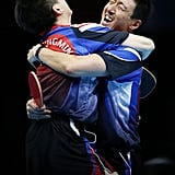 South Korea's Sanguen Oh and Seungmin Ryu gave each other a big hug after winning in the semifinal of the men's team table tennis competition.