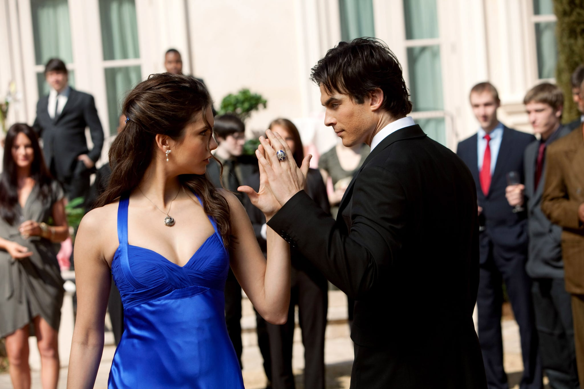 THE VAMPIRE DIARIES, (from left): Nina Dobrev, Ian Somerhalder, 'Miss Mystic Falls', (Season 1, airing April 22, 2010), 2009-. photo: Bob Mahoney /  CW / Courtesy: Everett Collection