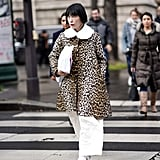 Style Your Leopard-Print Coat With: White Pants, Flatform Shoes, and a Bag