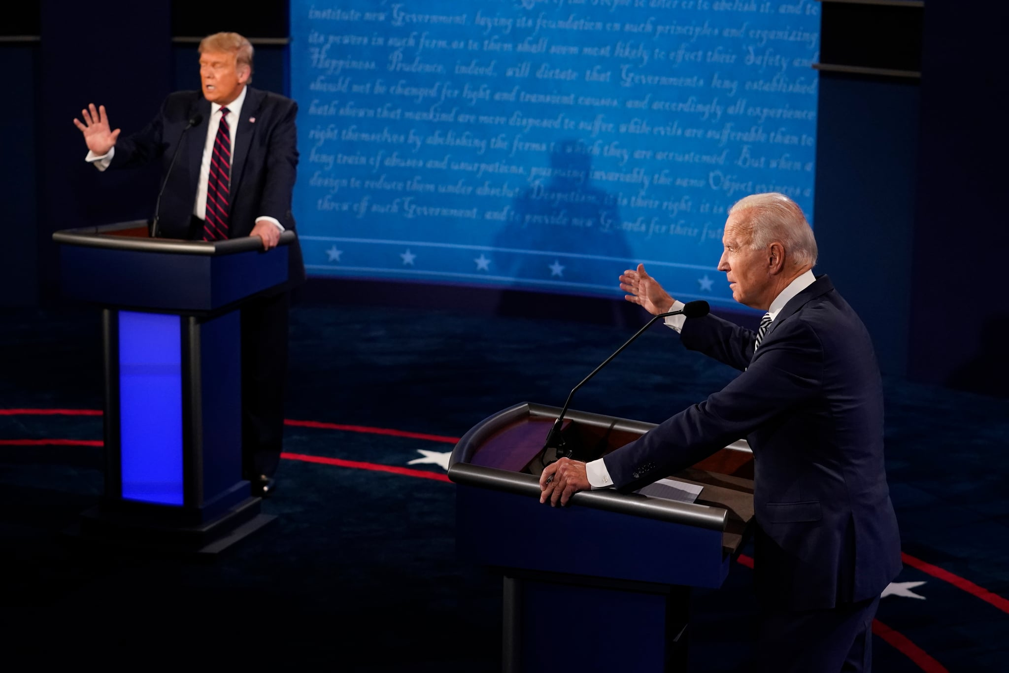 CLEVELAND, OHIO - SEPTEMBER 29:  U.S. President Donald Trump and former Vice President and Democratic presidential nominee Joe Biden speak during the first presidential debate at the Health Education Campus of Case Western Reserve University on September 29, 2020 in Cleveland, Ohio. This is the first of three planned debates between the two candidates in the lead up to the election on November 3. (Photo by Morry Gash-Pool/Getty Images)