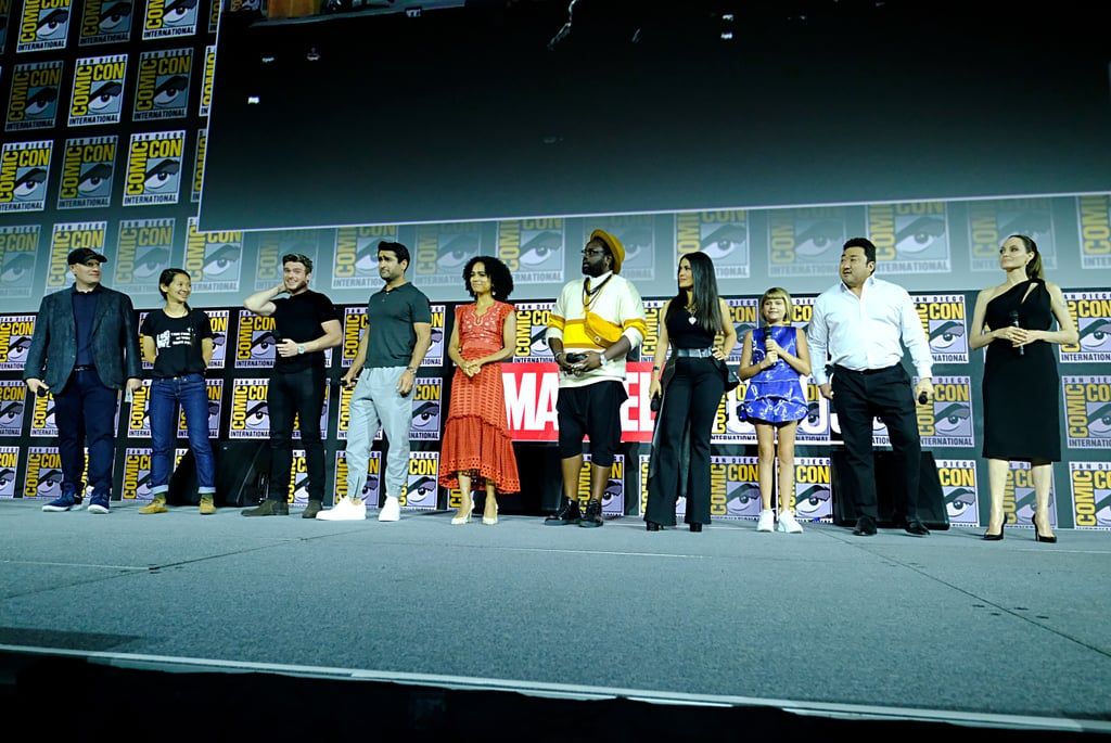 Pictured: Kevin Feige, Chloé Zhao, Richard Madden, Kumail Nanjiani, Lauren Ridloff, Brian Tyree Henry, Salma Hayek, Lia McHugh, Don Lee, and Angelina Jolie at San Diego Comic-Con.