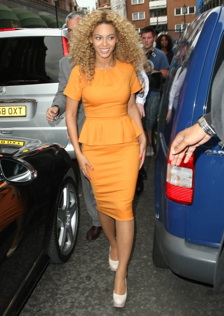 Beyoncé Knowles dropped by famed London department store Harrods today in a bold and bright dress paired with platform heels. The superstar is in England this week and took advantage of some free time to fit in the visit, during which she taped some of her upcoming exclusive interview with Piers Morgan. On Sunday night, Beyoncé performed at the Glastonbury Festival, closing out the annual music celebration. The singer wowed the crowd, which included her husband, Jay-Z, and friends like Gwyneth Paltrow, and told the audience she was thrilled to perform alongside so many rock stars. Those included Gwyneth's husband, Chris Martin, whose band Coldplay was also a headliner at this year's fest. Beyoncé's new album, 4, is out in stores tomorrow, and she's been keeping busy promoting the release all month. Not only does she grace the latest cover of W, but she also gave a series of concerts in France before taking the stage this weekend. She'll close out her work week in NYC with a Friday performance on GMA, during which our latest I'm a Huge Fan winner will have the chance to meet and interview her minutes before she sings on the morning show!