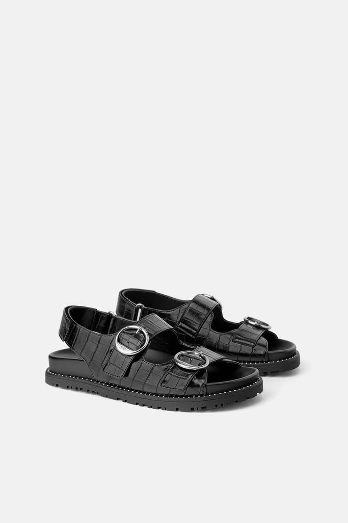 Zara Animal Embossed Buckled Flat Sandal