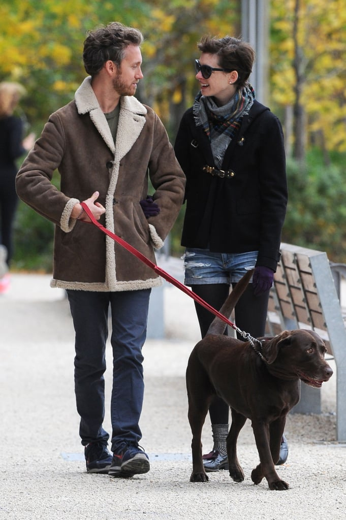 "Anne Hathaway and Adam Shulman took Esmeralda, their dog, for a walk in Brooklyn on Sunday. Adam and Anne returned to the Big Apple last week after an exciting month that included their wedding in California and a honeymoon reported to have taken place in Europe. Anne's now prepping for the Christmas day release (Dec. 26 in Australia) of Les Misérables, but she's keeping busy before kicking off her big press tour for the picture. Anne performed in a cabaret last week alongside other thespians including Audra McDonald, Eddie Redmayne and Harvey Fierstein. Last Wednesday, she took the stage at Joe's Pub to belt out hits from the musical Cabaret in a special show dubbed ""Perfectly Marvelous."""