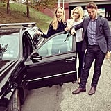 "Brilliant captioning accompanied this shot: ""@thelsd's hair was not flat today. But unfortunately her tire was. Can @derekblasberg change a tire?""  Source: Instagram user edie_parker"