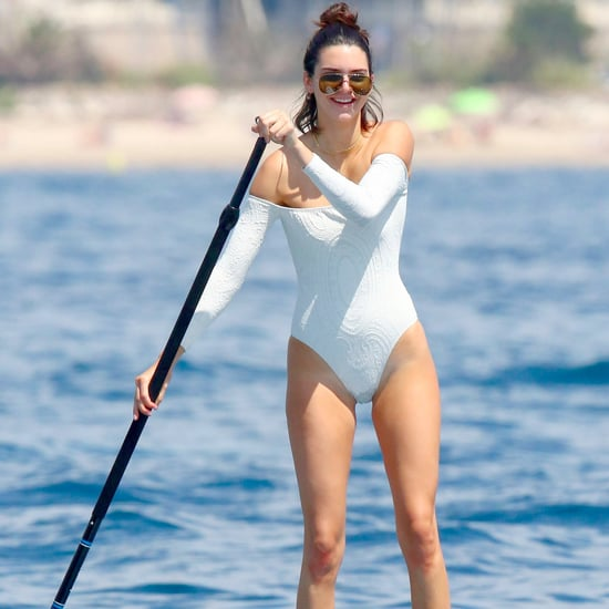 Kendall Jenner White Swimsuit With Sleeves
